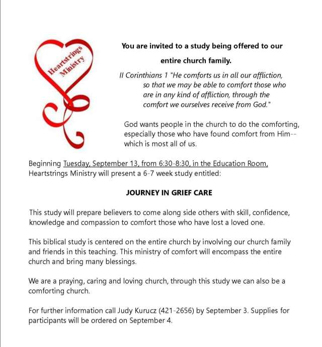 Journey in Grief Care announcement 1